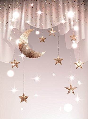Leowefowa 3X5FT Baby Shower Backdrop Twinkle Stars String Moon Curtain Backdrops for Photography Bokeh Vinyl Photo Background Boys Girls Studio -