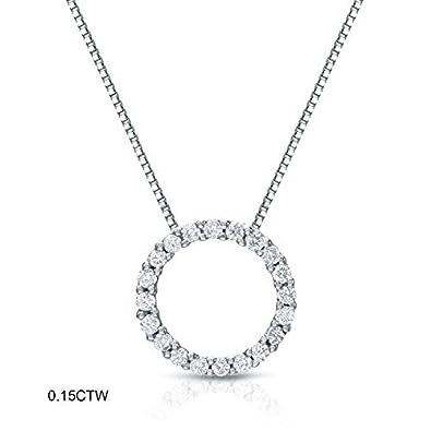 Amazon 14k white gold round cut diamond circle of life pendant 14k white gold round cut diamond circle of life pendant 16 cttw aloadofball Gallery