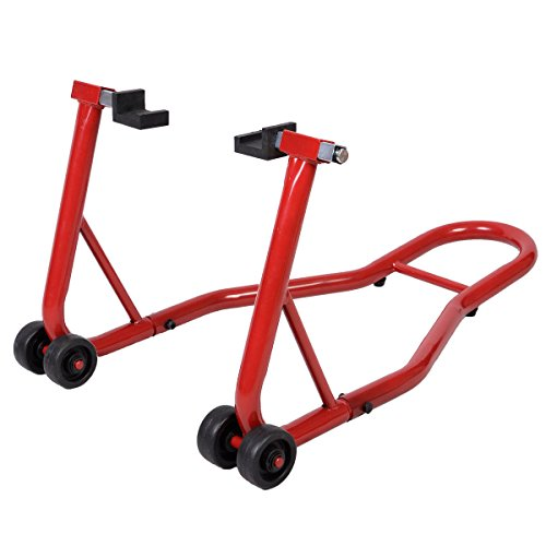 (Goplus Motorcycle Stand Dirtbike Sport Bike Sport Bike Rear Wheel Lift Fork Swingarm Stands Paddock Stands Fits Yamaha Honda Kawasaki Suzuki Ducati BMW (Red, Rear Stand))