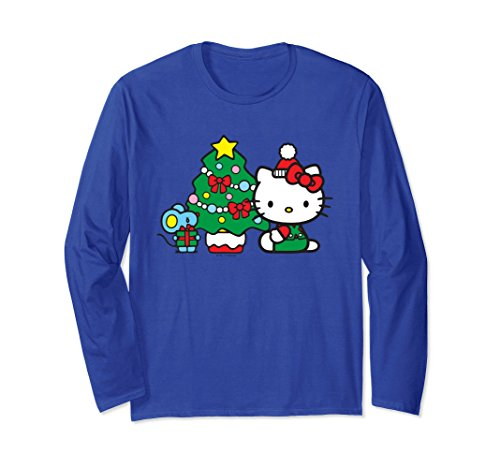 Unisex Hello Kitty Christmas Tree Long Sleeve 2XL Royal Blue (Hello For Clothes Adults Kitty)