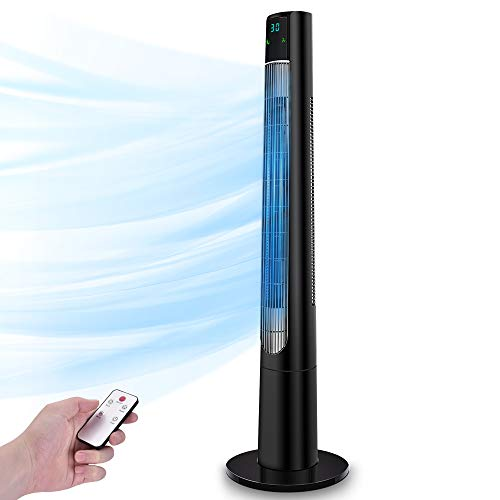 TRUSTECH 48'' Oscillating Tower Fan, Room Tower Fan with Remote Control, Digital Timer Oscillating Cooling Fan, Quiet Tower Fan with 3 Modes & 3 Speeds, Bladeless Design for Your Summer Days