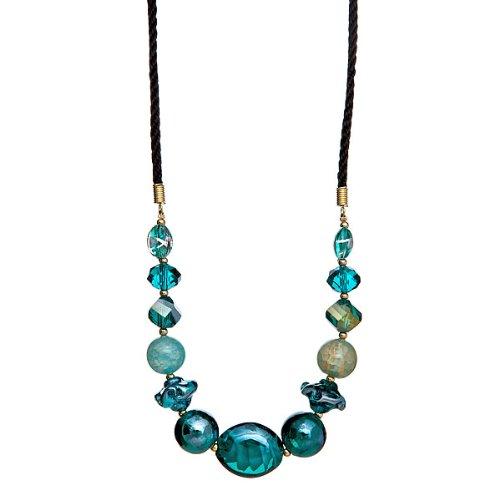 """Lova Jewelry """"Aquamarine Jewels"""" Hand-Blown Venetian Murano Glass Necklace"""