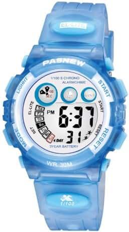 Multifunctional LED Waterproof Outside Sports Electronic Digital Watch for Children Girls Boy (Blue)