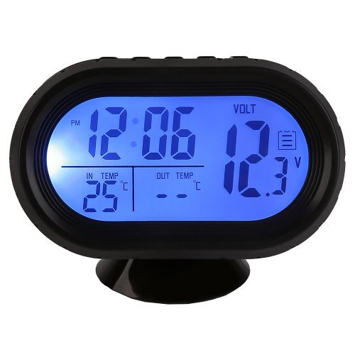 Docooler Multi-Function Digital 12V Car Voltage Alarm Temperature Thermometer Clock LCD Monitor Battery Meter Detector Display - Lcd Flat Thermometer