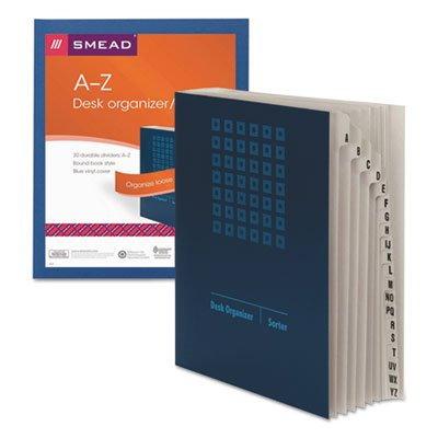 Deluxe Expandable Desk File, A-Z Index, Letter Size, Pressboard, Navy Blue, Sold as 1 Each SMEAD MANUFACTURING CO.