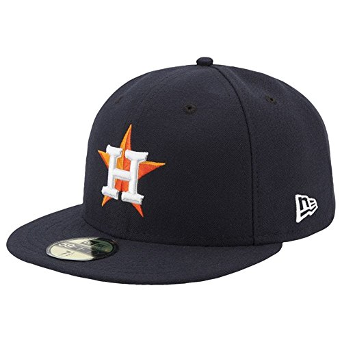 Home 59fifty Hats (New Era 59FIFTY Houston Astros Navy MLB 2017 Authentic Collection On Field Home Fitted Cap Size 7 1/2)