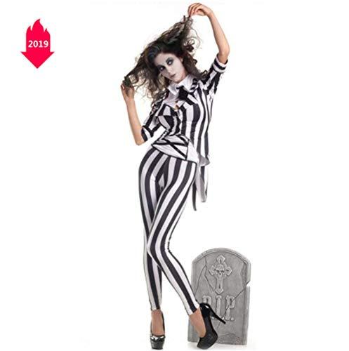 Halloween Costume, Black And White Stripe Magician Tuxedo Taro Ghost Bride Zombie Costume Cosplay Stage Uniform -
