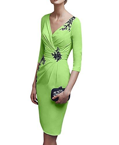 Grün Brautmutterkleider Flieder Knielang Abendkleider Etuikleider Charmant Damen Kurz ausschnitt V Partykleider n5YpxvUwq