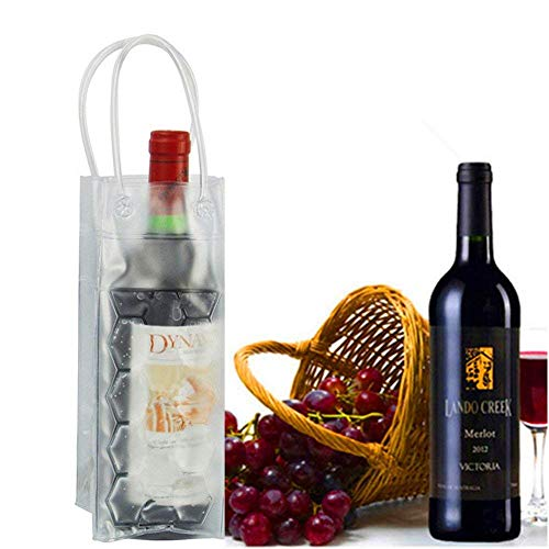 Wine Chiller Bag with Handle,Portable Foldable Beer Ice Bag Water Bottle Cooler Bag Freezable Chiller Carrier for Picnic Camping Outdoor Party Wedding Birthday Party Favors(Transparent)