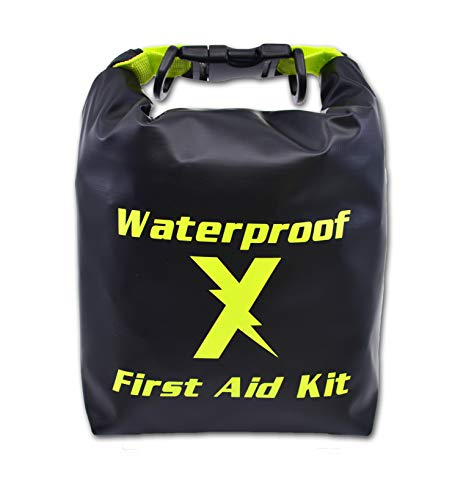 (Lightning X Waterproof Hi-Vis First Aid Kit - 104 Pieces w/Dry Bag for Emergency, Survival, Camping, Boating, Hiking &)