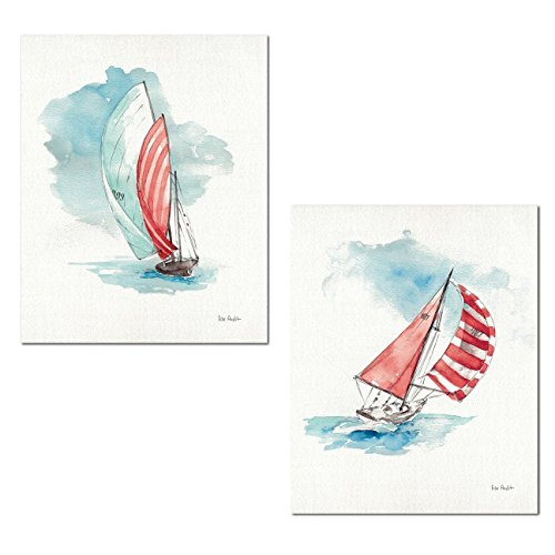 - Gango Home Décor Beautiful Watercolor-Style Sailboat in The Breeze Print by Lisa Audit; Coastal Decor; Two 11x14in Unframed Print. Blue/White/Black