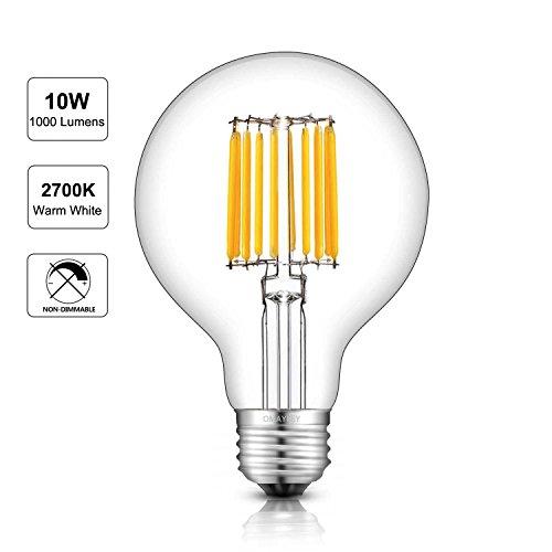 G20 Globe (OMAYKEY LED Filament Bulb 10W (100W Equivalent) 2700K Warm White Glow, E26 Medium Base G80 Antique Globe Light Bulb, 360 Degrees Beam Angle, Non-dimmable)