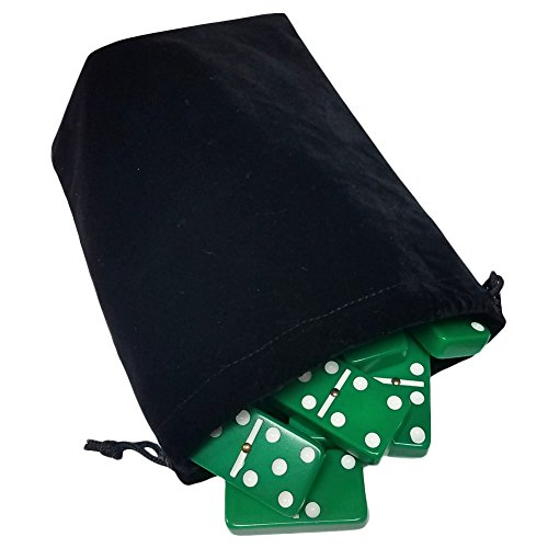 (Domino Double Six 6 Green Tiles Jumbo Tournament Professional Size with Spinners in Black Elegant Velvet Bag)