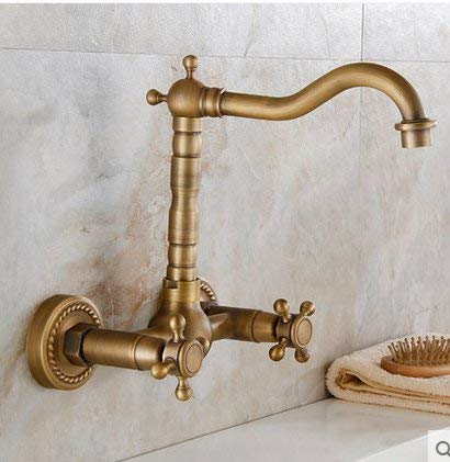 Oudan Antique Sink Mixer Tap Bathroom redate Wall Mounted Hot and Cold Double High