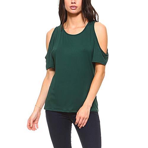 - Isaac Liev Women's Stylish Open Cutout Cold Shoulder Short Sleeve Top - Made in USA (Medium, Hunter)
