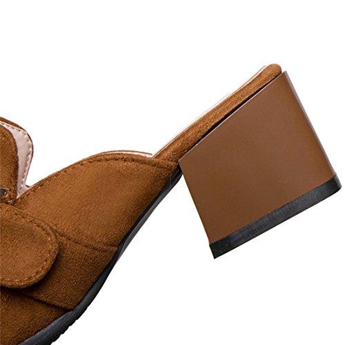 Vitalo Women's Mid Block Heel Mules Slip On Backless Loafers Slippers Brown EFnNV