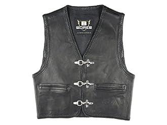 Bores sunride 1 Rinder Chaleco de piel, interior bolsillos, negro, tamaño L