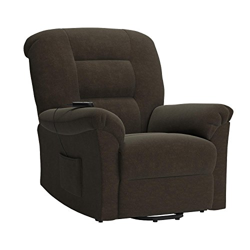 Coaster Home Furnishings Modern Transitional Power Lift Wall Hugger Recliner Chair with Emergency Backup - Chocolate Textured Chenille