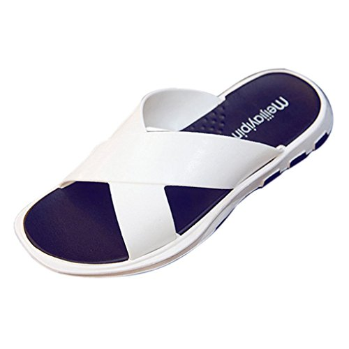 Hatop Summer Men Cross Wide Strap Flip Flop Slipper Indoor&Outdoor Casual Shoes sapatos Hembre Sapatenis White