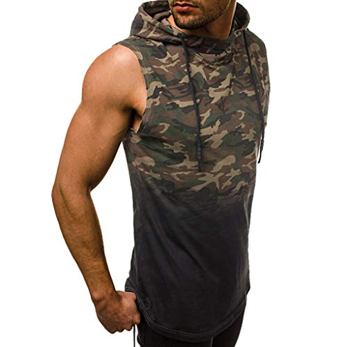 - JJLIKER Men's Camouflage Hoodie Sleeveless T-Shirt Vest Summer Casual Athletic Fitness Sport Tank Tops with Zipper