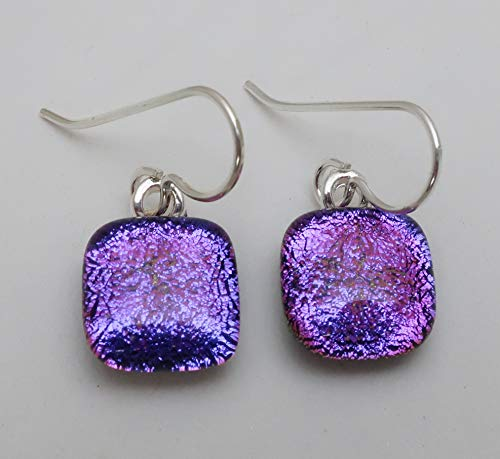 Petite Magenta Pink Purple fused dichroic glass dangle earrings sterling silver ear wires ()