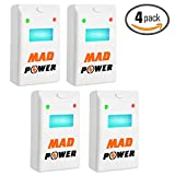 [Upgraded 2018] Pest Repeller - BEST Control 4-Pack with TRIPLE Power [Ultrasonic + Electromagnetic + Nightlight] - Plug-In Electronic Home Repellent Anti Mice, Ant, Roach, Mosquito, Outdoor/Indoor