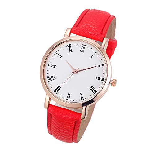 FEDULK Womens Classic Retro Wrist Watch Good Gift Leather Band Analog Temperament Quartz Watches(Red, One Size) ()