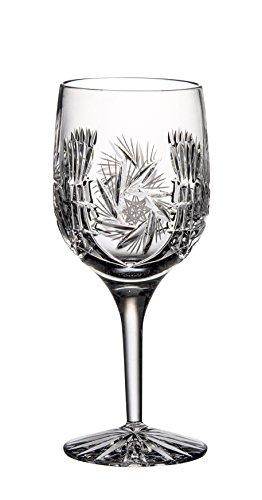 Barski - Hand Cut - Mouth Blown - Crystal - Wine Glass - Goblet - Pinwheel Design - Set of 4 - 9oz. - Made in Europe