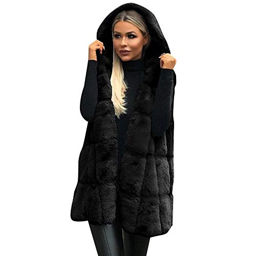 Letdown Women Sleeveless Hooded Fur Faux Plus Size