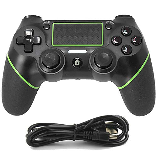 Yosikr Wireless Bluetooth Controller Gamepad for PS4 Playstation 4 with Chargiing Cable,Touch Panel Joypad with Dual Vibration(Green) -