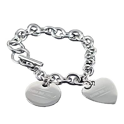 149f89bf2a4c6 Amazon.com: Center Gifts Personalized Stainless Steel Charm Bracelet ...