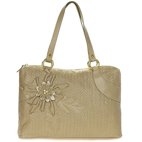 Braccialini Italian Made Beige Leather Tote Handbag with (Braccialini Women Handbags)