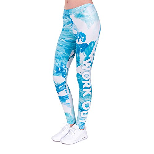 Pop Fashion Amazon Prime Deals, Women Brightly Colored Printed Leggings Footless Tights Ankle Pants (Work Out - Blue (Neon Footless Leggings)