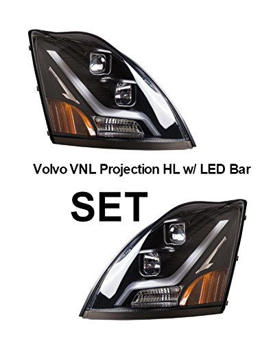 Volvo VN VNL Black Projection Headlight Set with LED Light Bar (White) | Driver and Passenger Side | Fits 2004–Newer Models | Direct Replacement for OEM 82329124 & OEM 82329127 | Areion