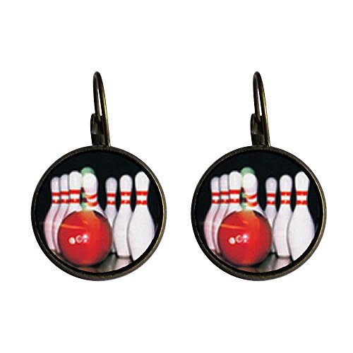 Pin Bowling Photo (GiftJewelryShop Bronze Retro Style Bowling Pins Photo Dangle Leverback Earrings 16mm diameter)