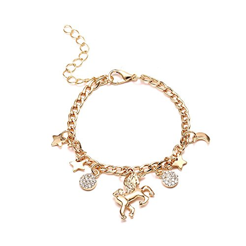 Girls Magical Unicorn Sparkly Charm Bracelet Colorful Rainbow Unicorn Star Disc Animal Bracelet (C)