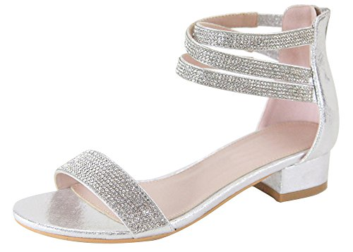Cambridge Select Women's Open Toe Single Band Crisscross Ankle Strappy Crystal Rhinestone Low Chunky Block Heel Dress Sandal (6.5 B(M) US, Silver) ()