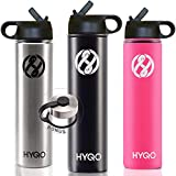 HYQO Insulated Stainless Steel Water Bottle | Cold 48 Hrs Hot 24 Hrs | 26 Oz Double Wall Vacuum Leak Proof Metal Water Bottle with Straw | Extra Flip & Drink Lid