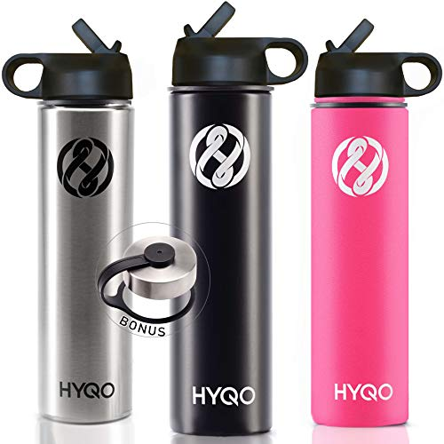 HYQO Insulated Stainless Steel Water Bottle | Cold 48 Hrs Hot 24 Hrs | 26 Oz Double Wall Vacuum Leak Proof Metal Water Bottle with Straw | Extra Flip & Drink Lid (Best Thermos To Keep Drinks Hot)