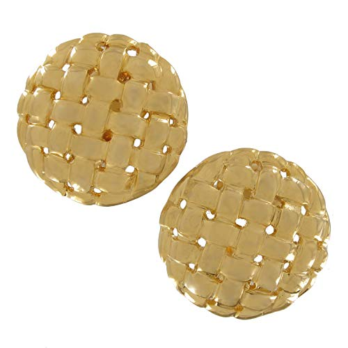 Gold Tone Abstract Ribbed Basket Weave Layered Nuget Clip Earrings 1
