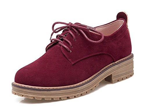 Aisun Women's Casual Simple Round Toe Platform Dress Lace Up Flats Pumps Oxfords Shoes Wine Red 10.5 B(M) US by Aisun