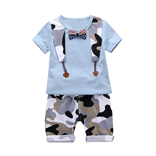 FEITONG Infant Baby Boys Star Striped Bow Tie T Shirt +Camouflage Short Pant Set Outfits (Green, (Old Navy Green Camo)