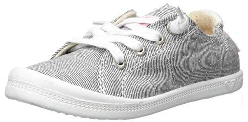 (Roxy Girls' RG Bayshore Slip On Sneaker Shoe, Grey/White Dream, 4 M US Big Kid)