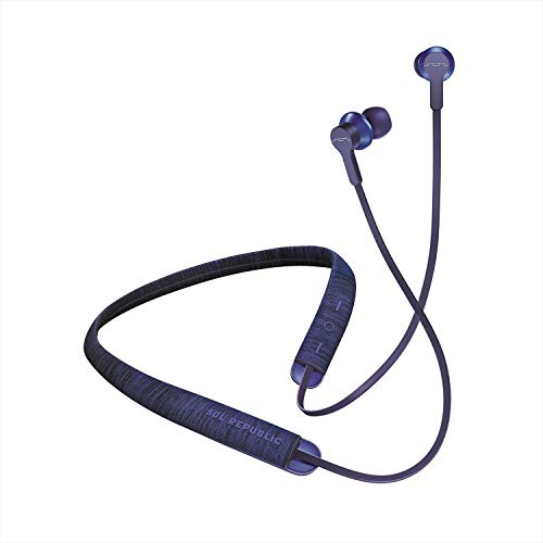 Blue Fusion Bluetooth - SOL REPUBLIC Shadow Fusion Bluetooth Earbuds, Blue 10-Hour Playtime Comfortable Knit Tech Fiber Collar Magnetic Connection Earbuds Flexible Compact Storage Convenient Carrying Case