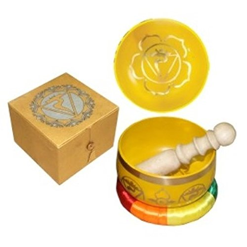 Green Tree Yellow Solar Plexus Chakra Singing Bowl Set by Green Tree Products
