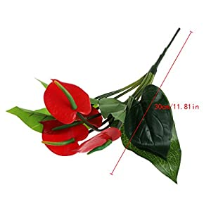 Tebatu Artificial Fake Red Anthurium Flower Plant Home Party Office Vase Decoration 100