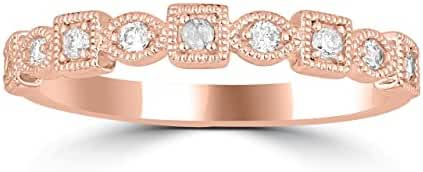 14K White Gold Or 14K Rose Gold Or 14K Yellow Gold Stackable Rings 0.15ctw Diamonds (i2/i3, i/j)