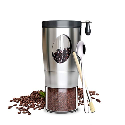 Convallaria Manual Coffee Grinder with 5-Level Grinding Ceramic Conical Burr Mill, Stainless Steel Foldable Handle Coffee Bean Grinder with Brush and Spoon for Coffee Bean/Spices/Tea Leaves/Camping