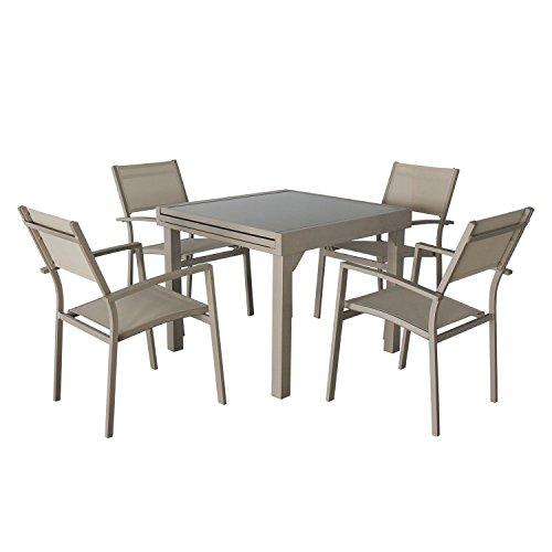 Magari Furniture Aluminum MA629-805 5 Piece Indoor Outdoor Patio Garden Pool Dining Extendable Rectangular Table Set, Taupe