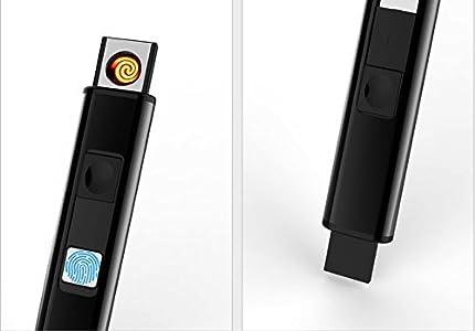 Silver Briquet sans flamme /écologique sans gaz Qualit/é premium avec coffret cadeau Briquet USB rechargeable Chargement direct sur port USB sans cable